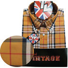 Warrior Short Sleeve Button Down Shirt LYDON Mod Skinhead Yellow Red Black White