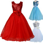 Formal Sequins Flower Girl Princess Bridesmaid Party Dress Wedding Pageant New