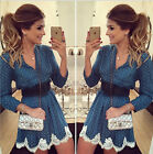 New Fashion Women Casual Long Sleeve Evening Party Cocktail Short Mini Dress
