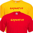 Men's Gaywatch Funny T-Shirt. Yellow or Red Lifeguard Fancy Dress Costume to 3xl
