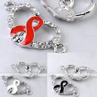 5x Crystal Enamel Heart Ribbon Connector Charm Spacer Bead Jewelry Finding DIY
