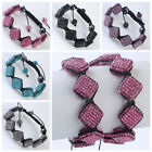 6 Colors Crystal Resin Square Beads Pave Hip Hop Weave Macrame Bracelet Fashion