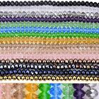 Crystal Faceted Abacus Rondelle Glass Loose Bead Jewelry Findings Making DIY 15""