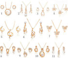 Wholesale Wedding Jewelry Set 18K Gold Plated Crystal Opal Necklace Earrings