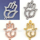 Silver Plated Alloy Rhinestone Hollow Hamsa hand Connector Jewelry Finding DIY