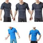 Men Short Sleeve Sports Fitness Tight Shirt Gym Compression Base Layer Tight Top