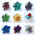 1PC Faceted Crystal Glass Flower Fashion Finger Ring Girl Vogue Jewelry Adjust
