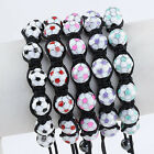 1PC Football Hematite Ball Round Beads Macrame Woven Soccer Bracelet Adjustable