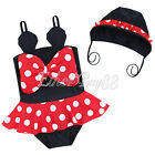 New Baby Girls Swimwear One Piece Red Polka Dots Minnie Mouse Swimsuit with Hat