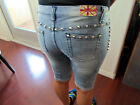 Machine Studded Jeans RIPPED DISTRESSED DESTROYED WOMENS JEAN SHORTS