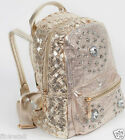 Kids Boys Girls Gold Silver Backpack School Bag Rucksack Children Faux Leather
