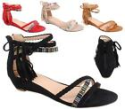 WOMENS LADIES FLAT LOW WEDGE STRAPPY AZTEC ANKLE TASSEL ZIP SUMMER SANDALS SHOES
