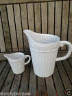 Shabby Chic Style White Ceramic Rustic Flower Ribbed Jugs,2 sizes Gisela Graham