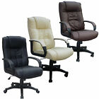 Cow Split Leather High Back Office Chair PC Computer Desk Swivel Furniture New