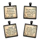 Inspirational Quote Handcrafted Glass Top Pendant Charm Black Setting Love Gifts
