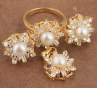 18K Gold Filled White Pearl Fashion Jewelry Sets Earrings Ring Size 5 B8845