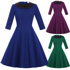 Plus Size 50s Vintage Sexy Womens Swing Pinup Blue Evening Party Cocktail Dress