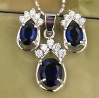 Sapphire Blue Charming Topaz Silver Gemstones Jewelry Sets Earrings B8239