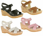 Womens Hush Puppies Eva Farris Wedge Heel Ankle Strap Sandals Sizes 3 to 9