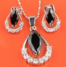 Filigree Black Sapphire Fashion Silver Gemstone Jewelry Set Earrings B8542