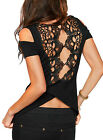 Women Cold Shoulder Lace Hollow Out Shirt Tops with Back Split