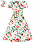 LADY VINTAGE 50s style ELOISE KINGFISHER DAY DRESS WHITE