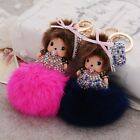 Monchichi hat rhinestone crystal keychain fur ball fashion doll handbag knot new