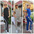 Chic Lady Women Rainbow Print Casual Sports Suits Tracksuit Two Pieces Sets LJ