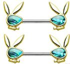 Body Accentz® Abalone Inlaid Face Playboy Bunny 316L Surgical Steel  sold as pai