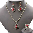 Women Golden Plated Chain Turquoise Crystal Earrings Necklace Rings Set Jewelry