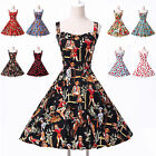 New Women Ladies Vintage 1950s Party Evening Prom Swing Tea Dress Size XS-XL