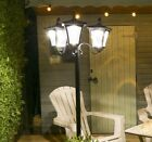 2.1M LARGE SOLAR ALUMINIUM TRIPLE LAMP POST SECURITY OUTDOOR GARDEN PATH LIGHT
