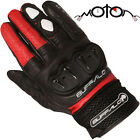 Buffalo Ostro Leather Motorcycle Gloves Black Short Cuff Motorbike Summer Urban
