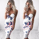 Fad Women Elegant White Floral Slim Wrap Dress Cocktail Evening Party Clubwear