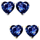 7mm Heart CZ Sapphire Birthstone Gemstone Stud Earrings 14K White/Yellow Gold