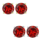 6mm Round CZ Garnet Birthstone Gemstone Stud Earrings 14K White Yellow Gold