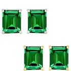 6mm Octogon CZ Emerald Birthstone Gemstone Stud Earrings 14K White Yellow Gold