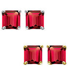6mm Princess CZ Ruby Birthstone Gemstone Stud Earrings 14K White Yellow Gold