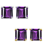 6mm Princess CZ Amethyst Birthstone Gemstone Stud Earrings 14K White Yellow Gold