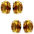7x5mm Oval CZ Citrine Birthstone Gemstone Stud Earrings 14K White Yellow Gold