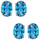 7x5mm Oval CZ Blue Topaz Birthstone Gemstone Stud Earrings 14K White Yellow Gold
