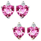 0.01 Carat Diamond Heart Pink Topaz Gemstone Earrings 14K White Yellow Gold