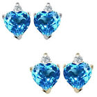 0.01 Carat Diamond Heart Blue Topaz Gemstone Earrings 14K White Yellow Gold