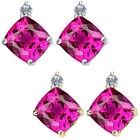 0.01 Carat Diamond Cushion Pink Topaz Gemstone Earring 14K White Yellow Gold