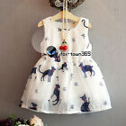 Summer Kids Toddlers Girl Child Baby Princess Red Collar Cat Vest Dress 2-7Y