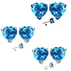 7mm Heart CZ Blue Topaz Birth Gemstone Stud Earring Silver 14k Gold Plated