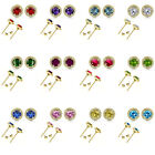 6mm Select Birthstone Gem Color Stud Halo Solitaire Round Silver Earrings YG
