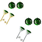Emerald Birthstone Gem 3 Prong Martini Stud Solitaire Round Silver Earrings
