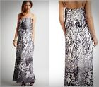 AIDAN MATTOX $300 Black/White Long Maxi Cruise Dress NEW