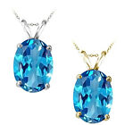 10x7mm Oval CZ Blue Topaz Birthstone Gemstone Pendant 14K White Yellow Gold